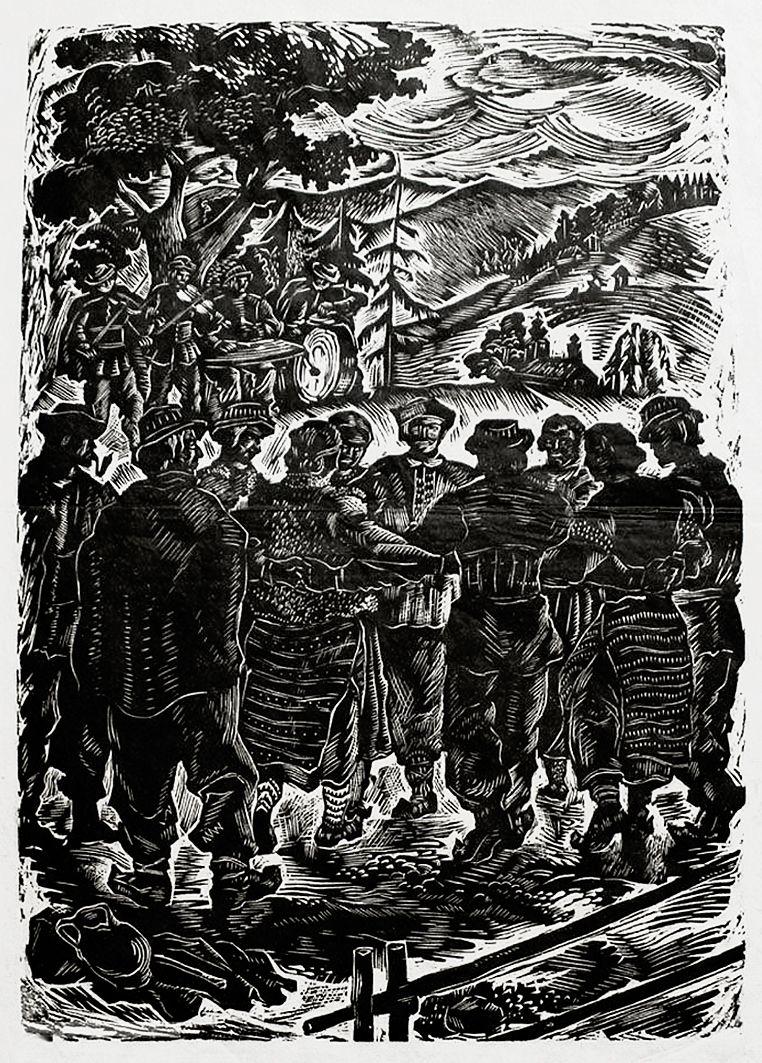 Людвік Тирович. Танок горців Карпат, 1939, ксилографія