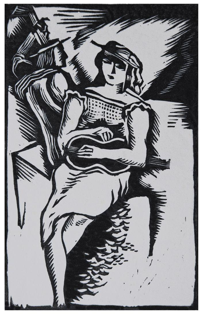 Людвік Тирович. Жінка з гітарою, 1931, дереворит