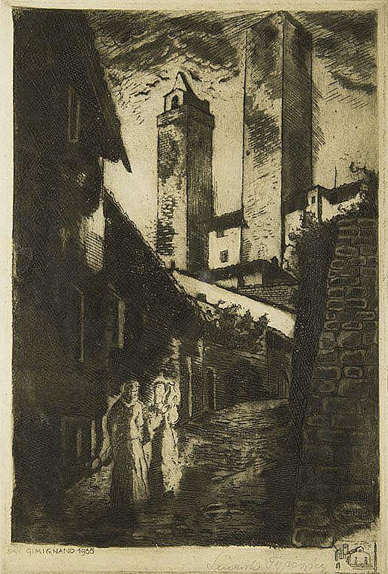 Людвік Тирович. Сан-Джаміньяно, 1935, офорт