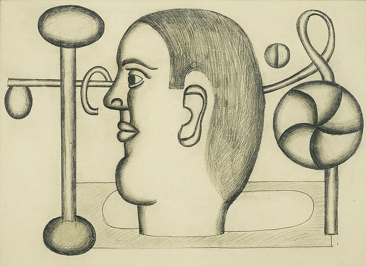Генріх Штренг (Марк Влодарський). Голова, 1928. Папір, олівець