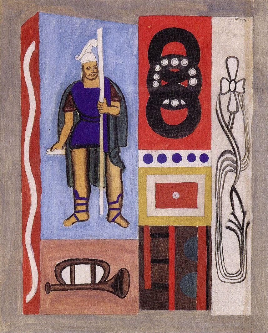 Генріх Штренг (Марк Влодарський). Композиція зі св Флоріаном, 1927. Папір, гуаш