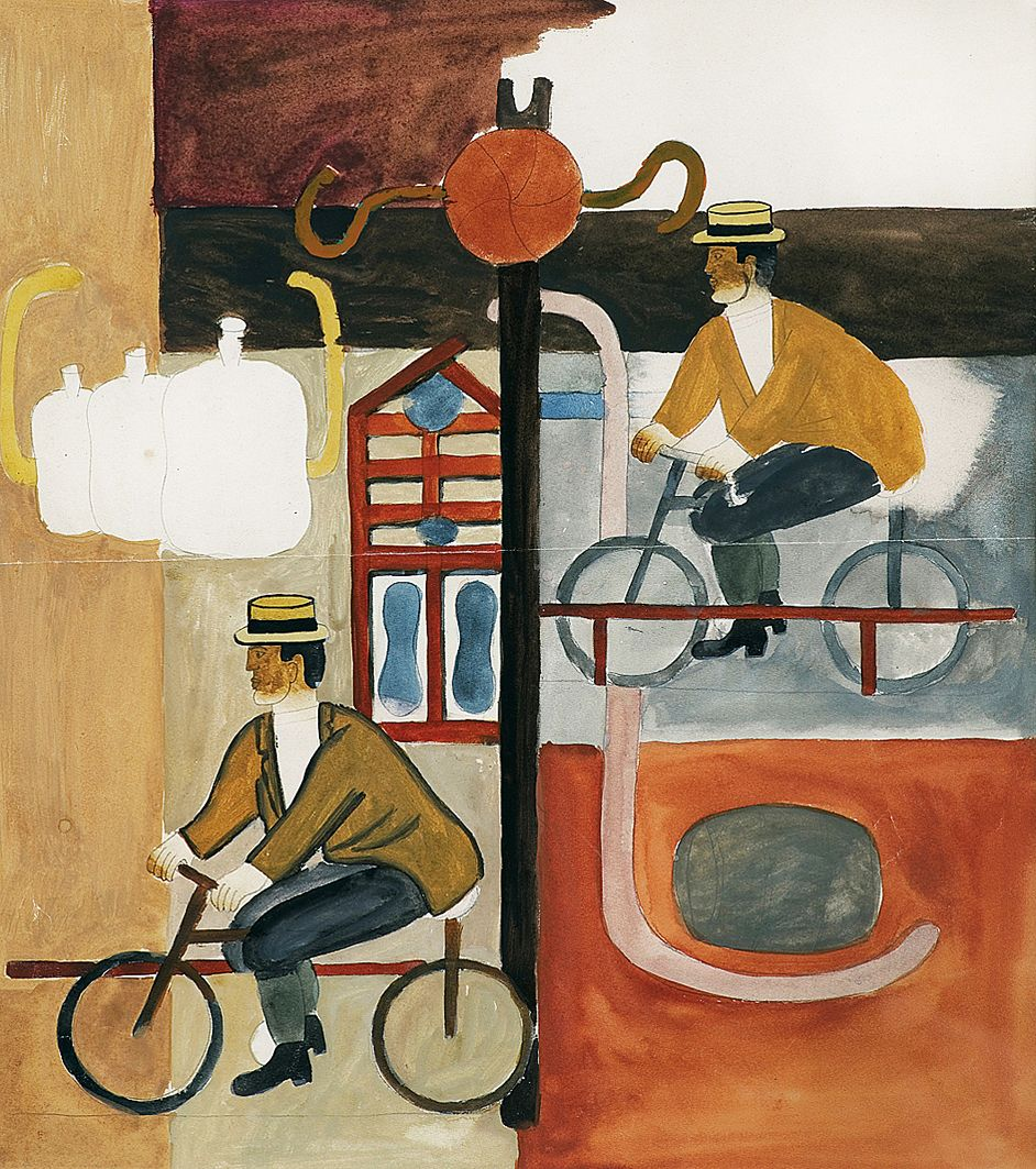 Генріх Штренг (Марк Влодарський). Велосипедисти, 1928. Папір, гуаш