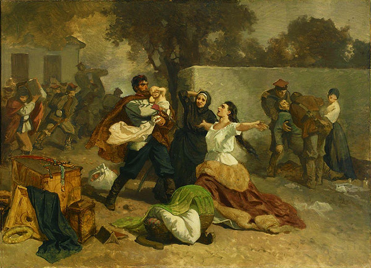 Артур Ґроттґер. Пожежа 1863 в Мехуві, 1865. Полотно, олія, NMW