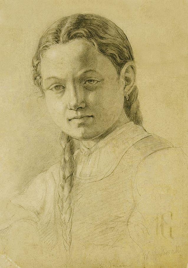 Войцех Грабовський. Дівчина з довгими косами, 1880