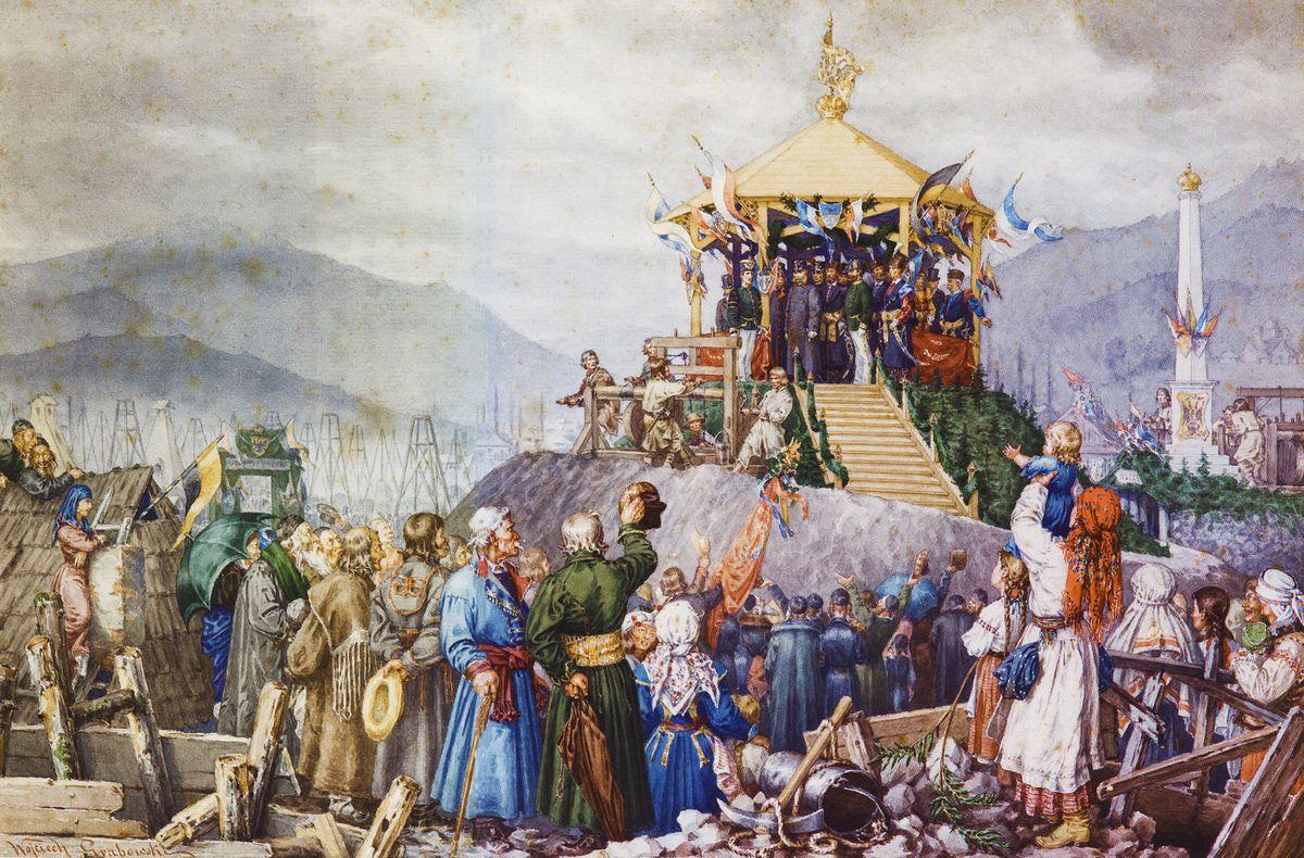 Войцех Грабовський. Франц Йозеф у Бориславі 13.09.1880. Папір,акварель, 1881, NMK
