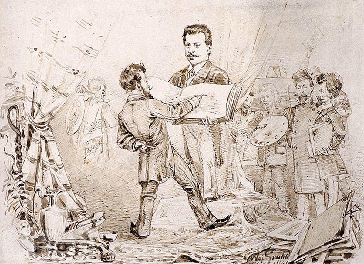Войцех Грабовський. Художники в художньому салоні, 1880-і. Папір, олівець