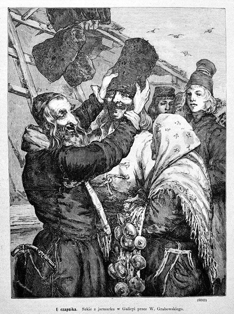 Войцех Грабовський. Кушнір на ярмарку в Галичині, 1881