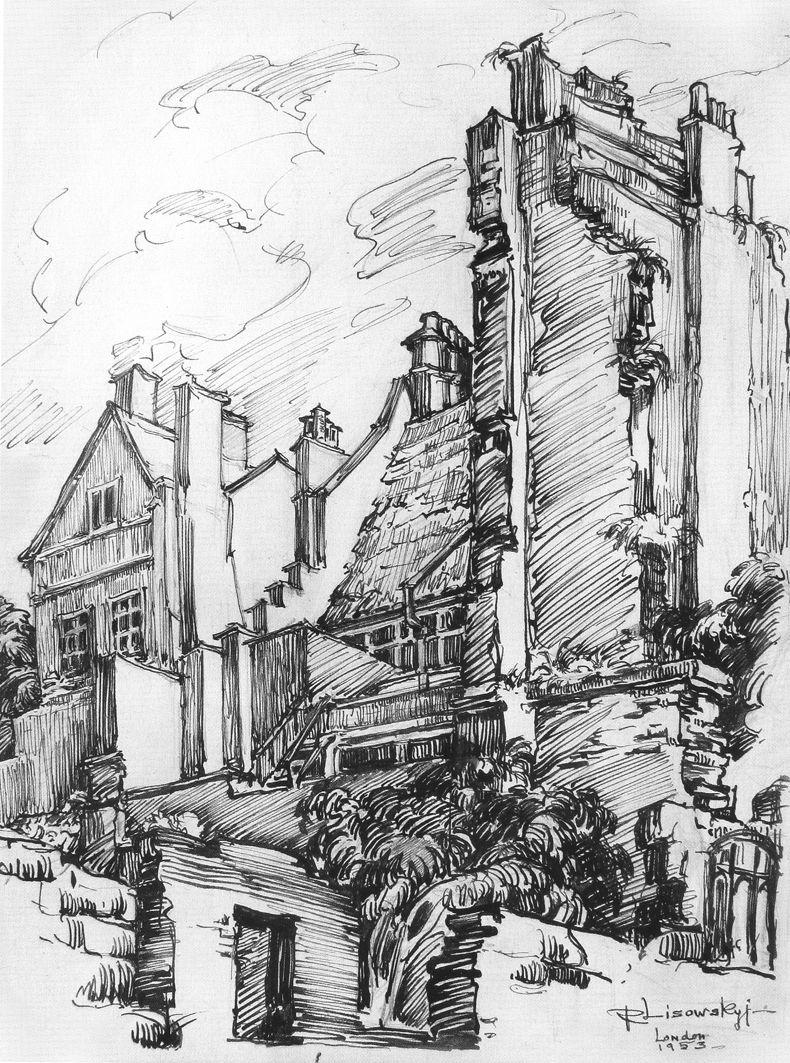 Роберт Лісовський. Будинки Лондону, 1953 пап,туш