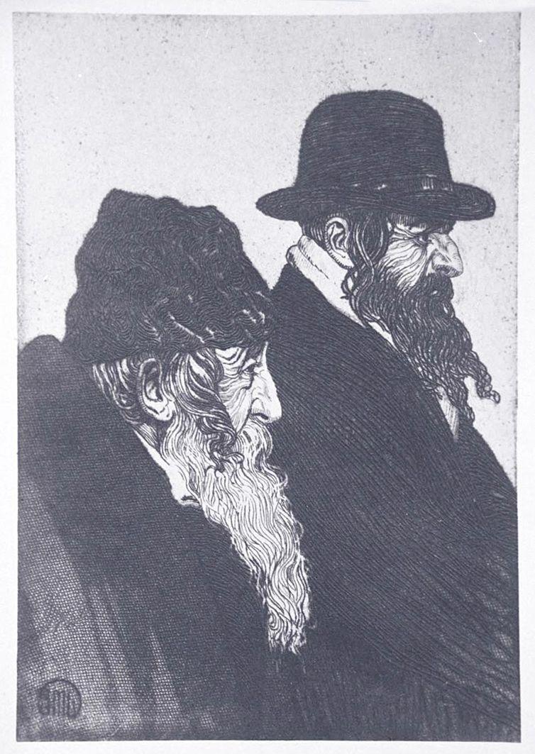 Ефраїм Моше Лілієн. Галицькі євреї, 1910, гравюра
