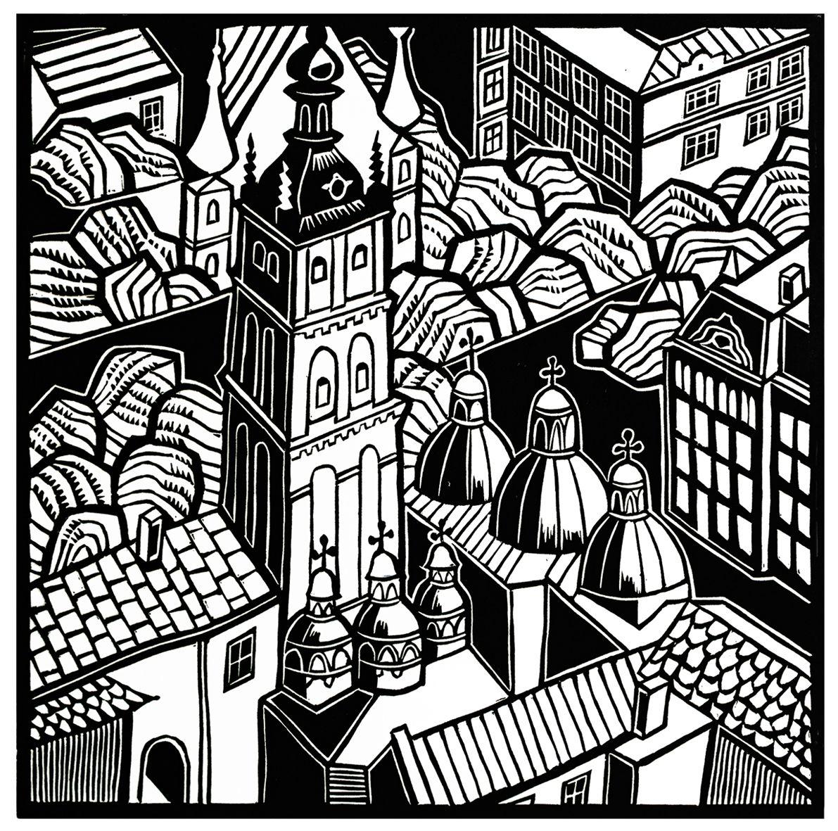 Мирон Яців. Львівські силуети Ренесанс, 1983, лінорит, 30-30