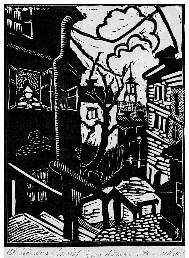 Ірина Новаківська-Ацеданська. Львів вул Сходова, 1934, лінорит