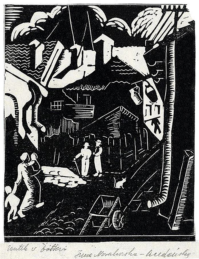 Ірина Новаківська-Ацеданська. Жовква єврейська дільниця, 1933, дереворит