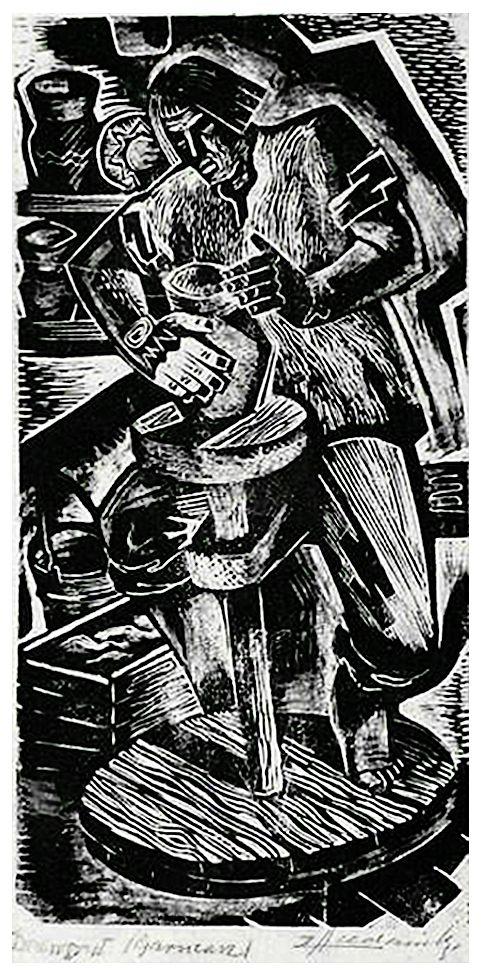 Зигмунт Ацеданський. За гончарним кругом, 1930-ті, дереворит