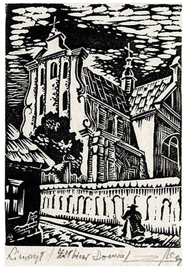 Зигмунт Ацеданський. Жовква костел домініканців, 1935, лінорит