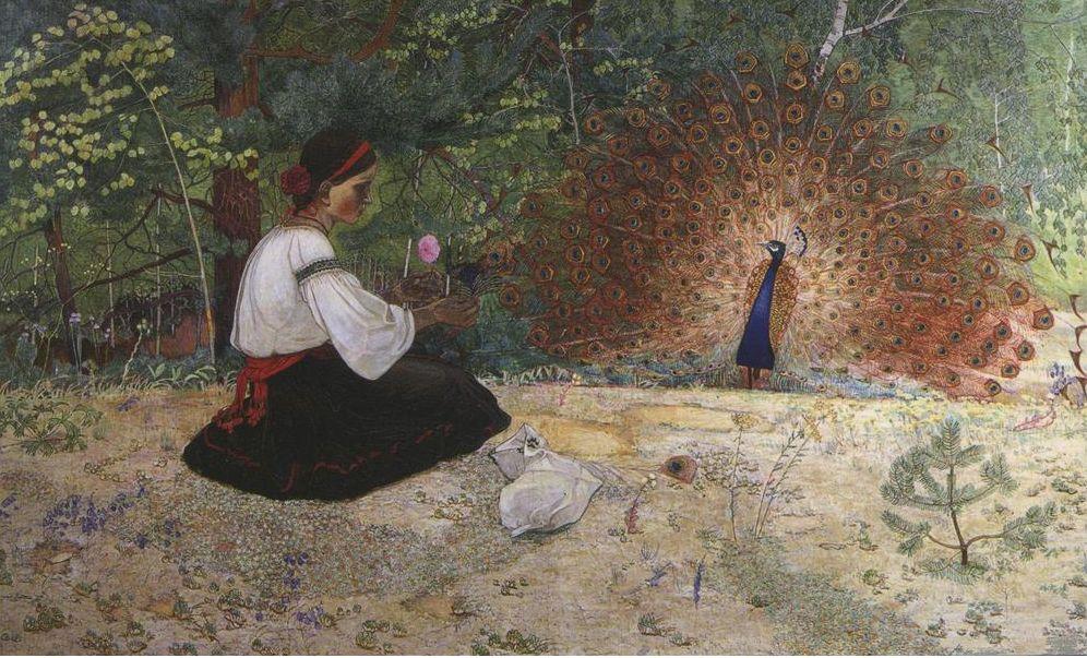 Петро Холодний. Дівчина і пава, 1915