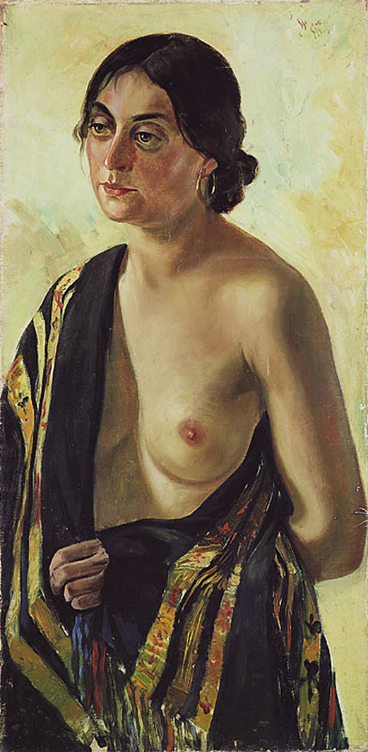 Зигмунт Менкес. Дівчина з покривалом, 1917