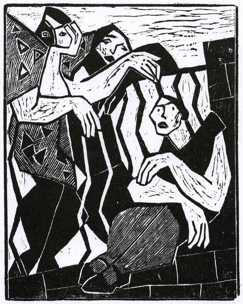 Олександр Винницький. Три дівчини, 1930-і, дереворит