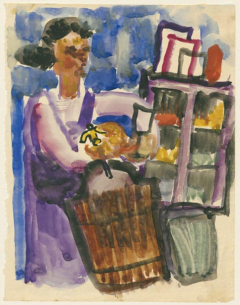Станіслав Осостович. Дівчина з сифоном, 1931; папір, акварель; NMW