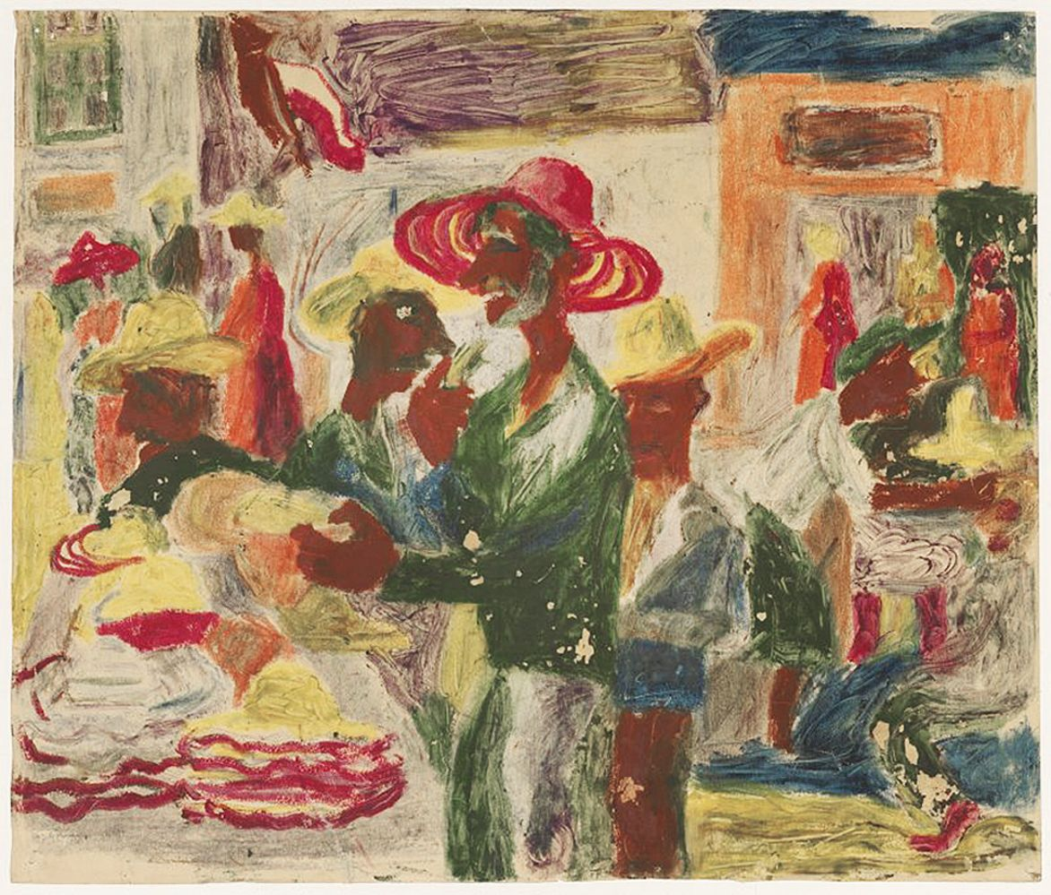 Станіслав Осостович. Магазин капелюхів, 1939; папір, кольорові олівці; NMW