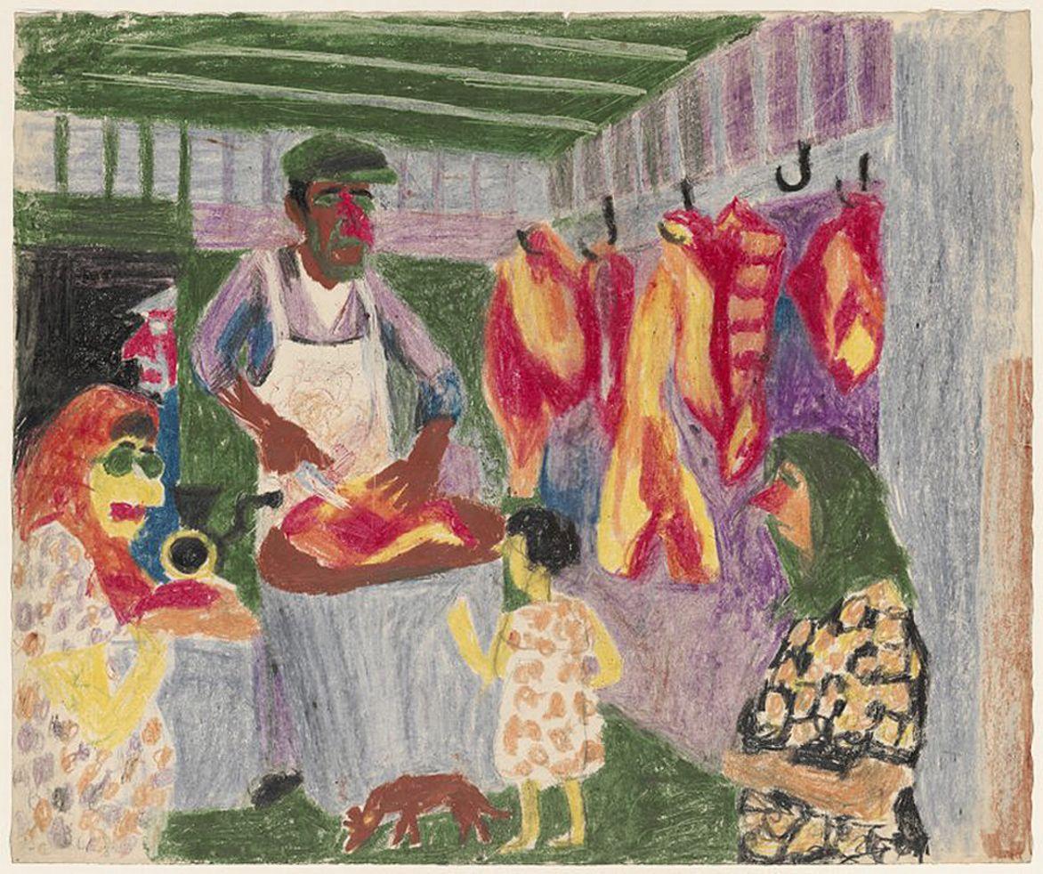 Станіслав Осостович. М'ясна лавка, 1939; папір, кольорові олівці; NMW