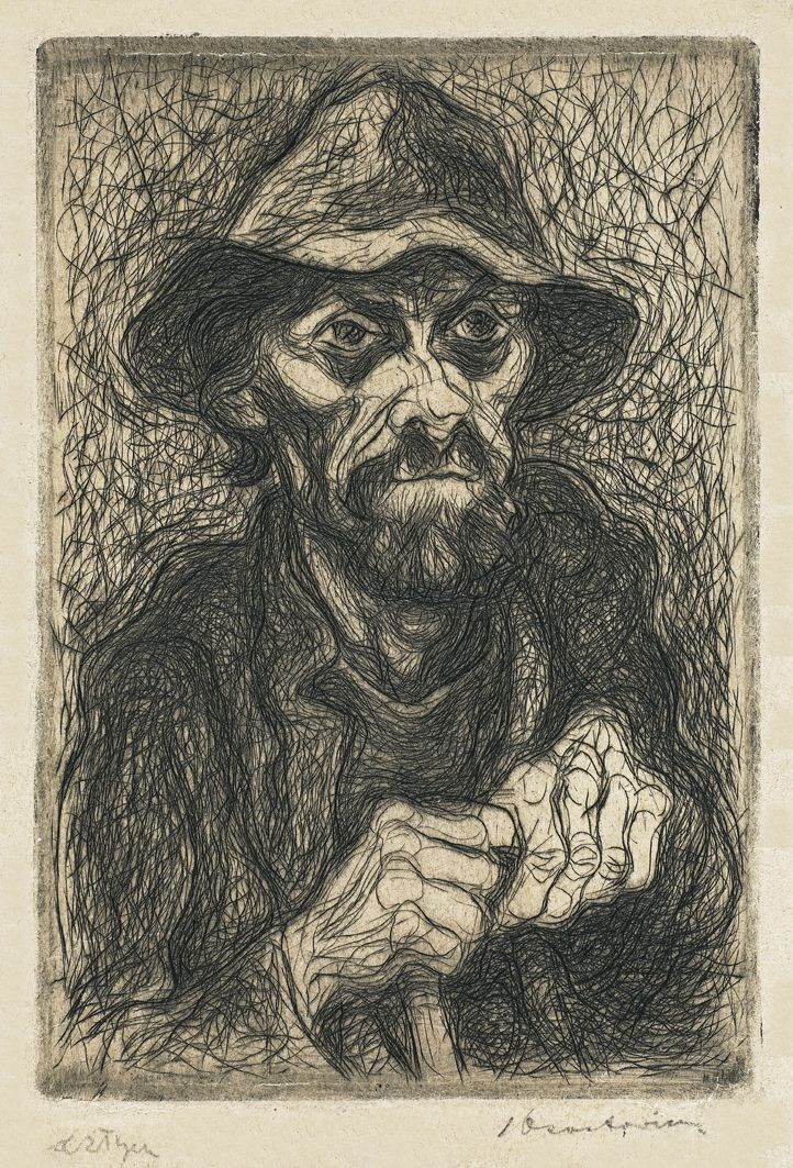 Станіслав Осостович. Жебрак, 1932, офорт