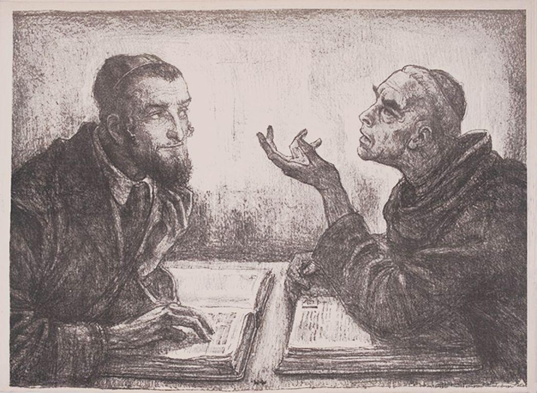 Вільгельм Вахтель. Диспут, 1910, літографія