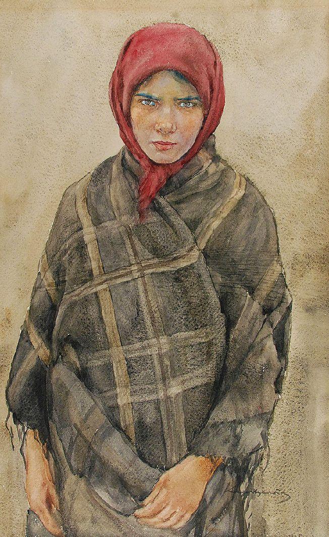 Олександр Авґустинович. Сільська дівчина в червоній хустці