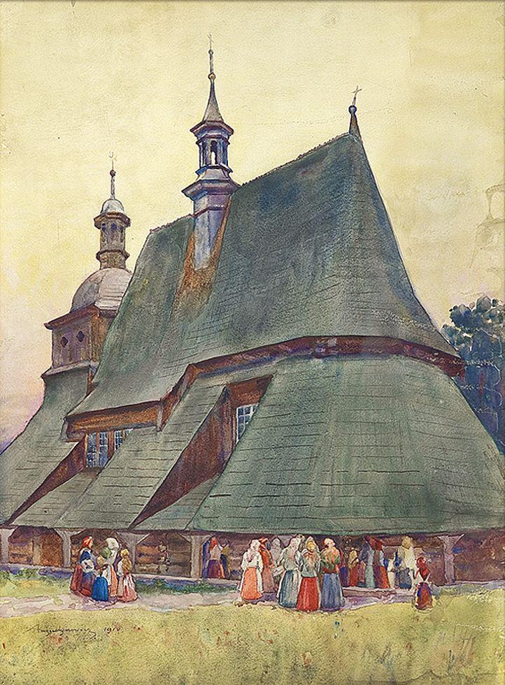 Олександр Авґустинович. Біля старої церкви, 1910