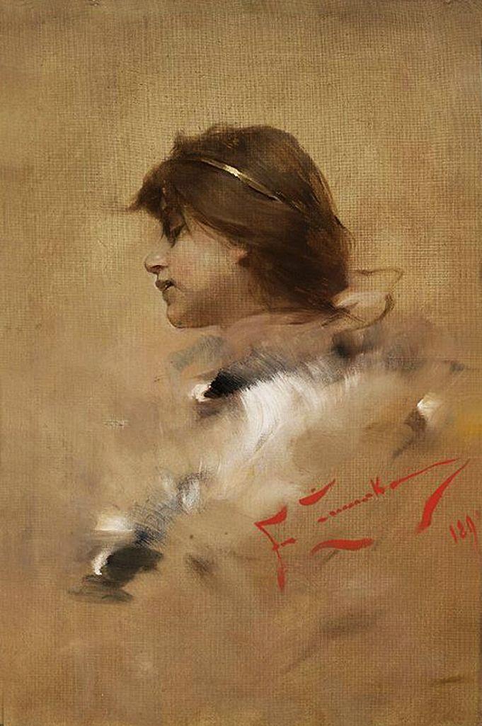 Францішек Жмурко. Жінка в профіль, 1893; п,о; NMW