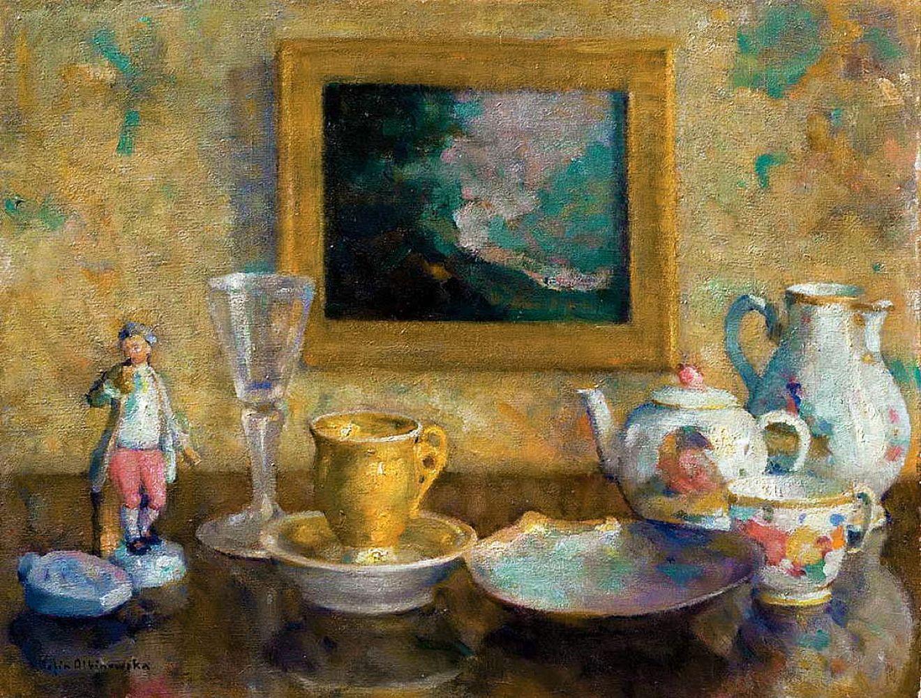 Софія Альбіновська-Мінкевич. Натюрморт з порцеляною, 1930-ті