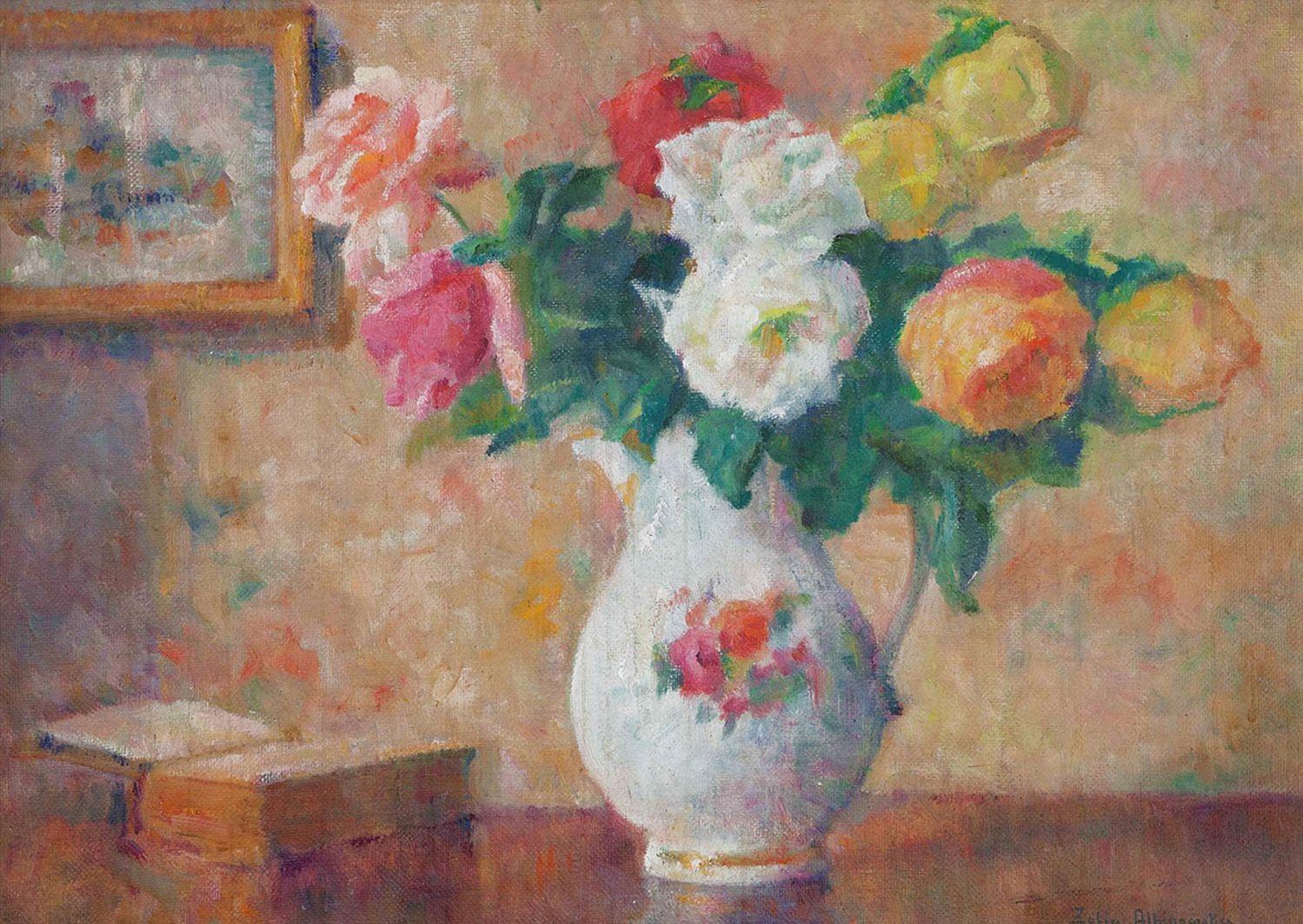 Софія Альбіновська-Мінкевич. Натюрморт з трояндами та книгою, 1960