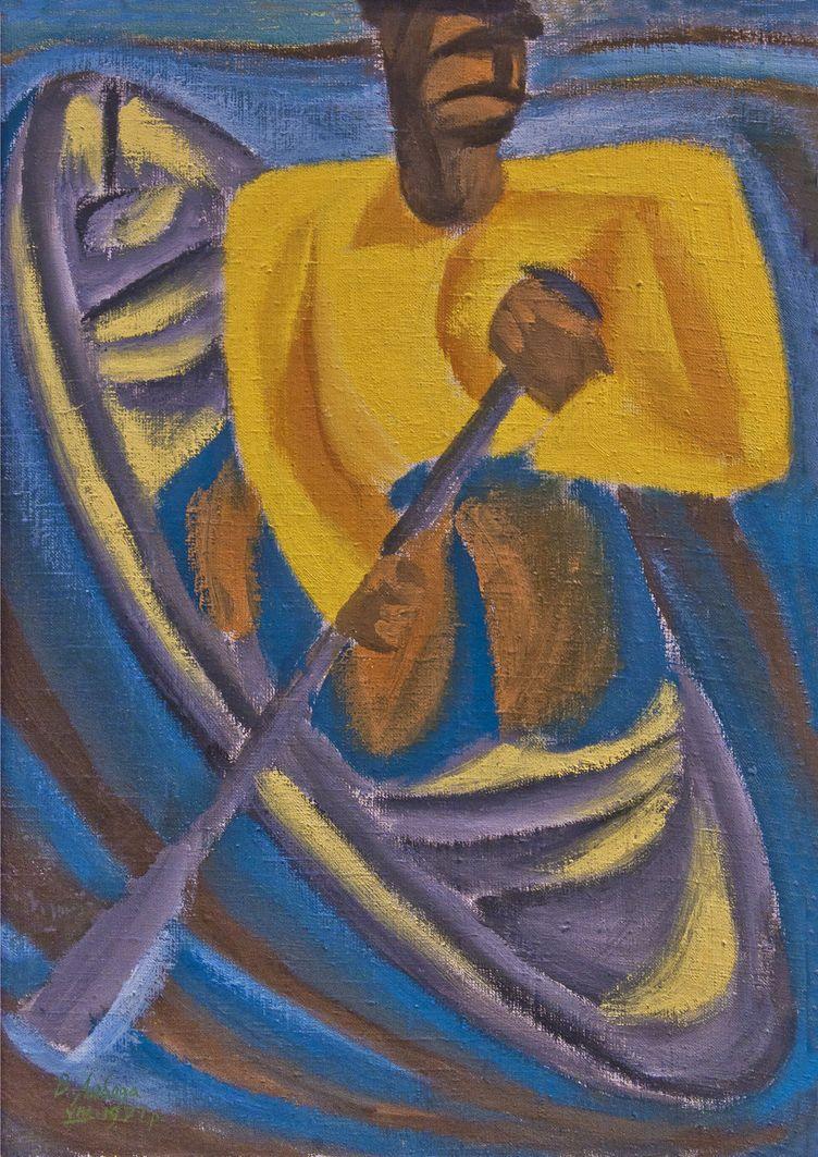 Володимир Лобода. Рибалка в човні на Пслі, 1971