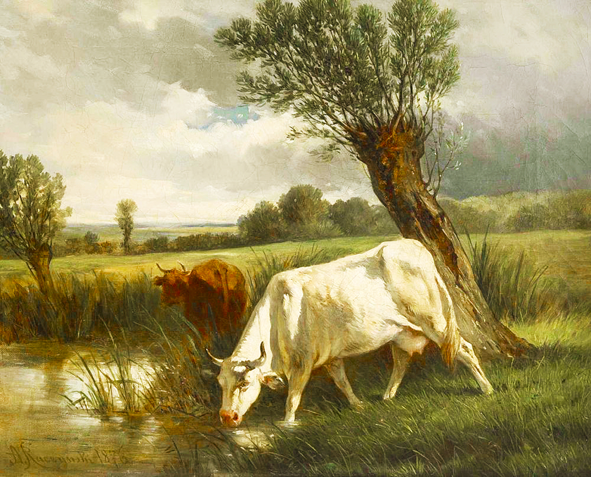 Александер Рачинський. Пейзаж з коровами, 1876; олія, полотно