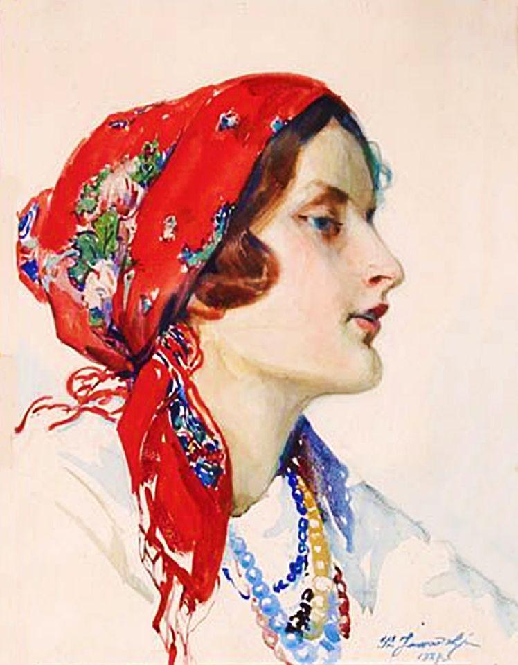 Станіслав Яновський. Дівчина в хустці, 1927; папір, акварель