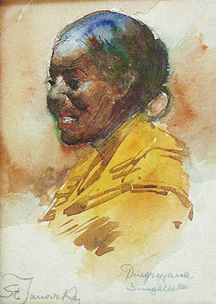 Станіслав Яновський. Дівчина з Сенегалу, 1890-ті; папір, акварель, гуаш