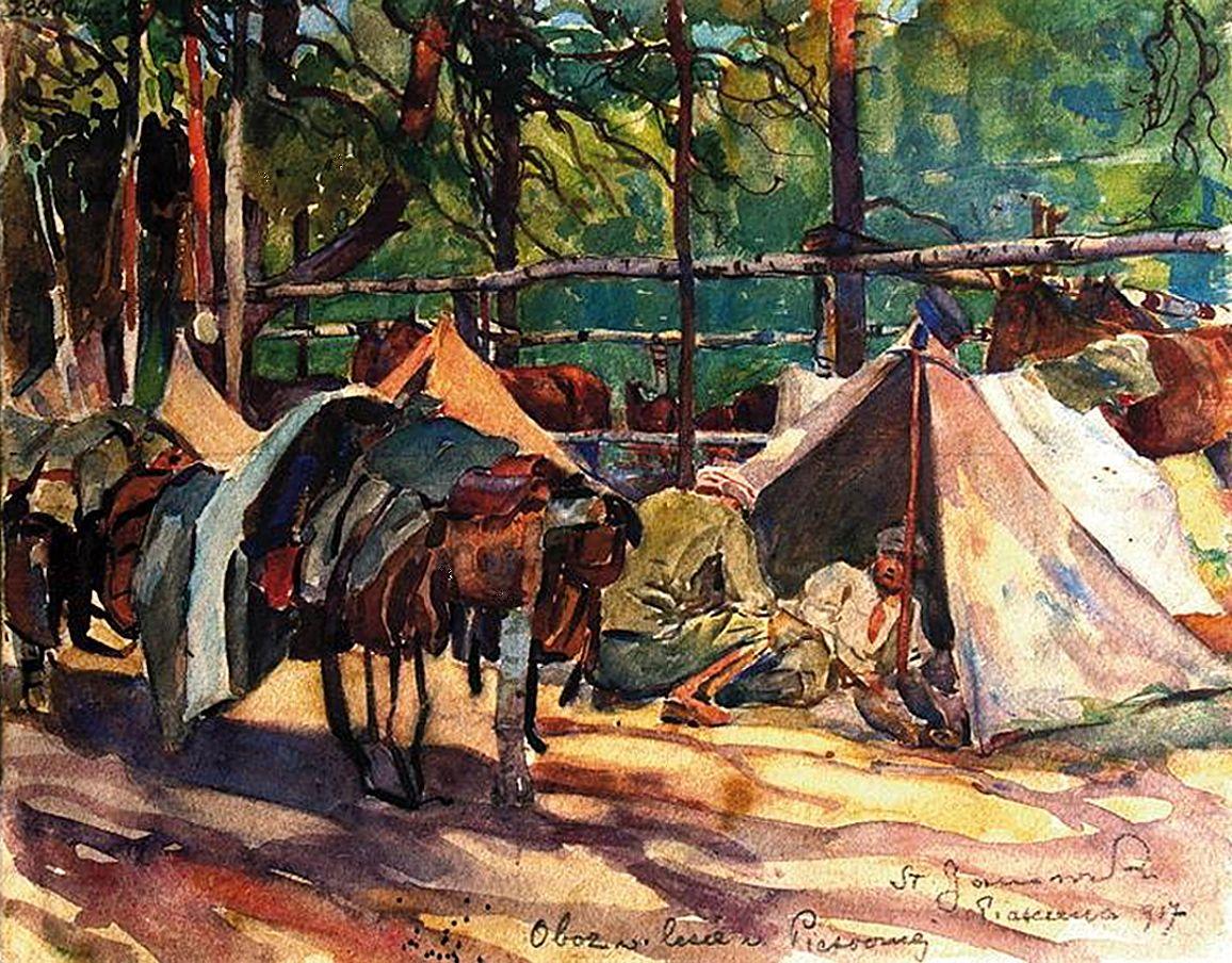 Станіслав Яновський. Табір легіонерів в Пясечно, 1917; папір, акварель