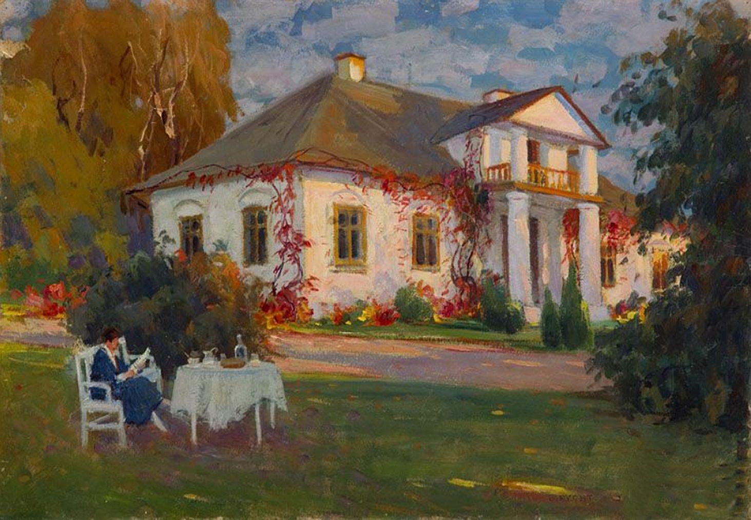 Броніслава Яновська. Жінка перед садибою