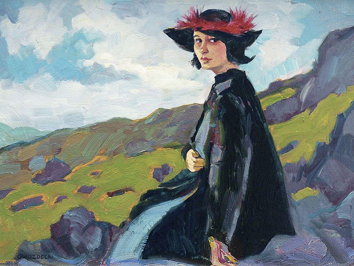 Густав Гвоздецький. Червоніе пір'я, 1911; картон, олія
