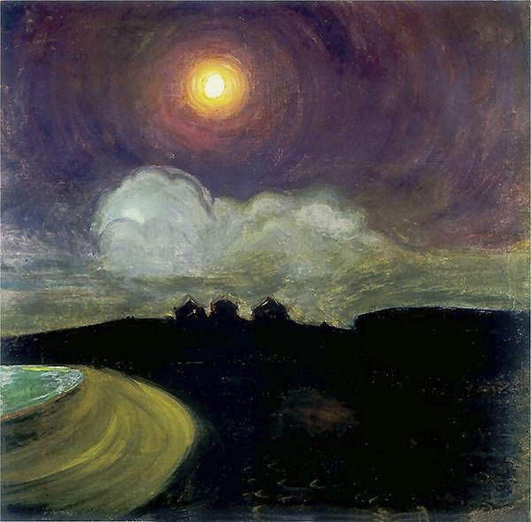 Густав Гвоздецький. Місяць, 1908; картон, олія