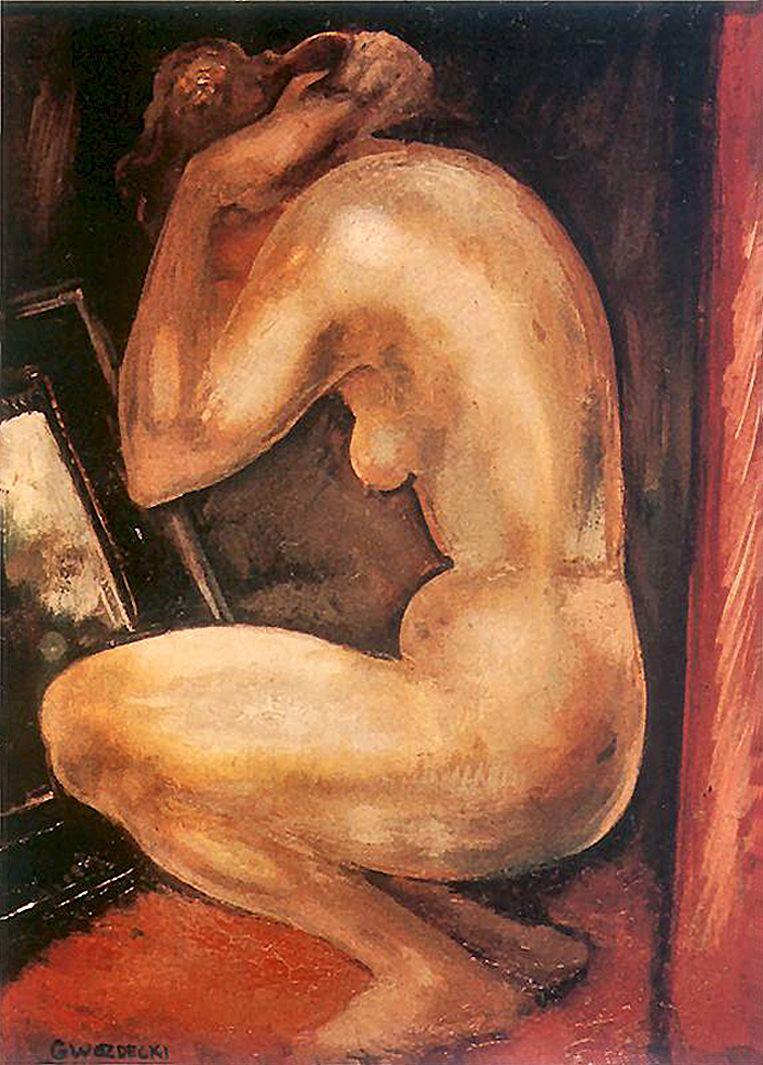 Густав Гвоздецький. Ню перед дзеркалом, 1920; дошка, олія