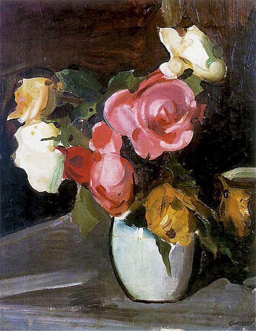 Густав Гвоздецький. Троянди, 1910; олія, полотно