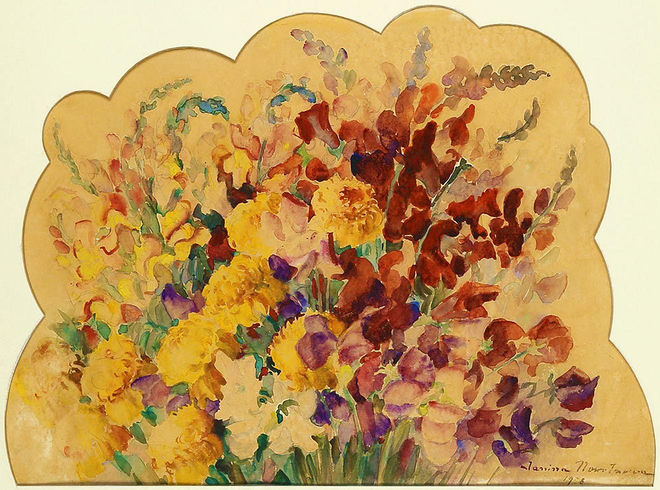 Яніна Новотнова. Букет квітів, 1938; папір, акварель