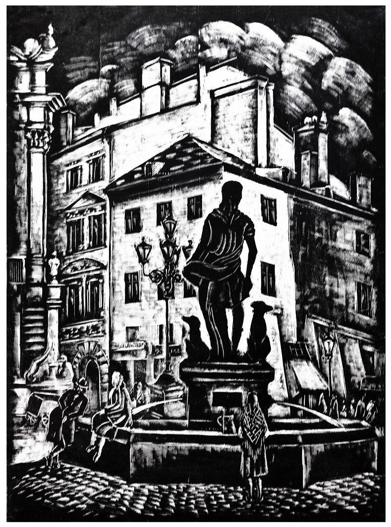Яніна Новотнова. Львів. Фонтан Діана, 1930-і; дереворит