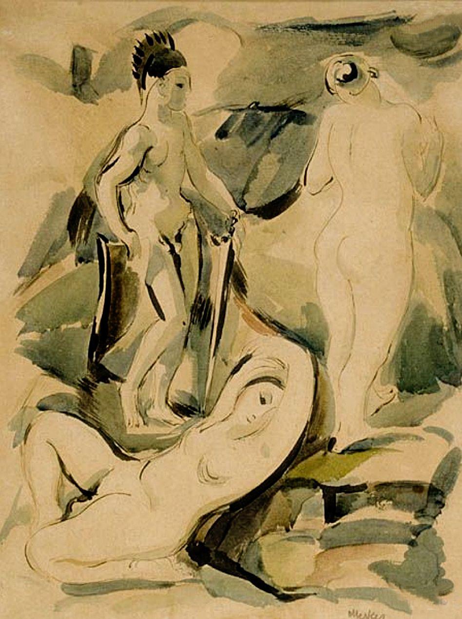 Єжи Меркель. Ахілл з дочками Лікомеда, 1912; папір, акварель