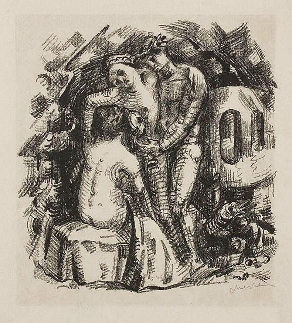 Єжи Меркель. Сцена, 1920-ті; літографія