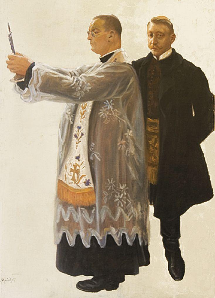 Ян Казімеж Ольпінський. Священик Jan Satke та Andrzej Moliński, 1910-ті; полотно, олія