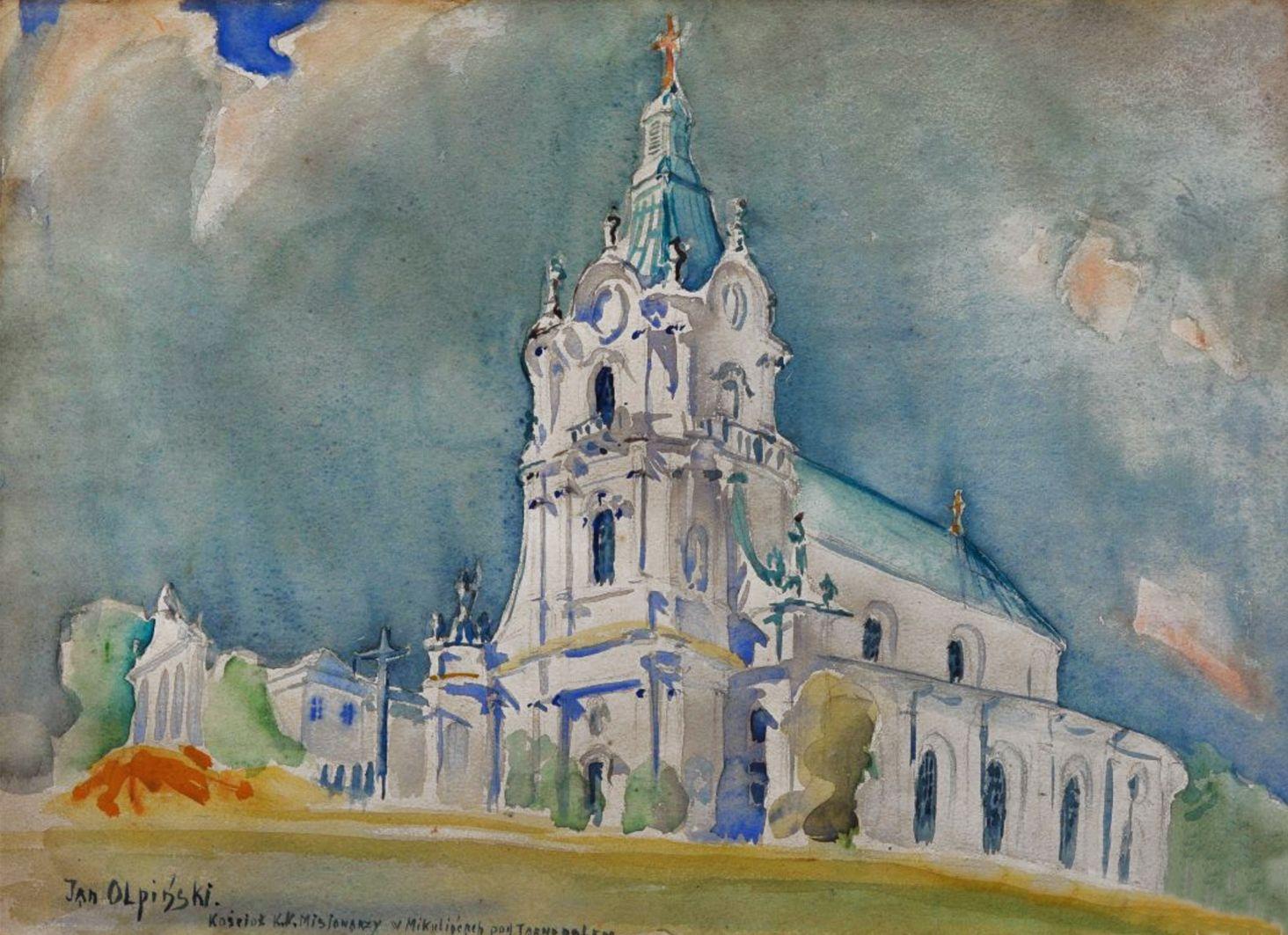 Ян Казімеж Ольпінський. Церква в Микулинці, Тернопіль; папір, акварель