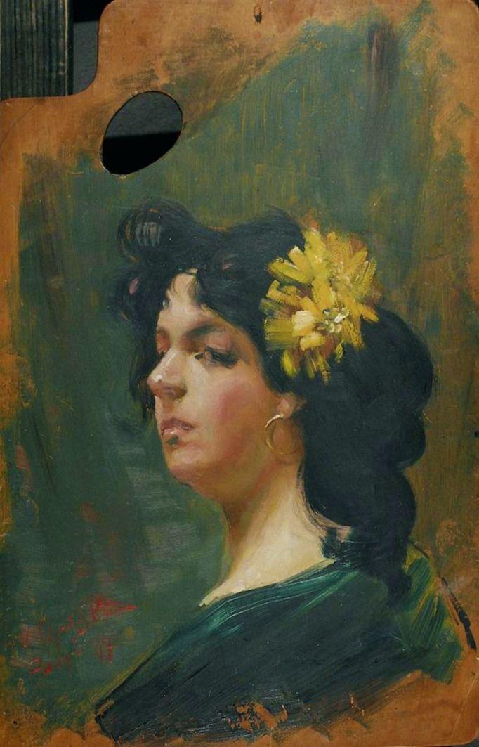 Ян Казімеж Ольпінський. Дівчина з квіткою у волоссі, 1897; дошка, олія