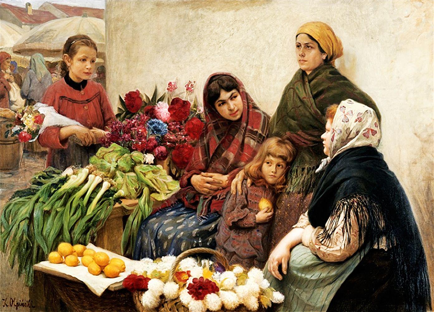 Ян Казімеж Ольпінський. На ринку; полотно, олія