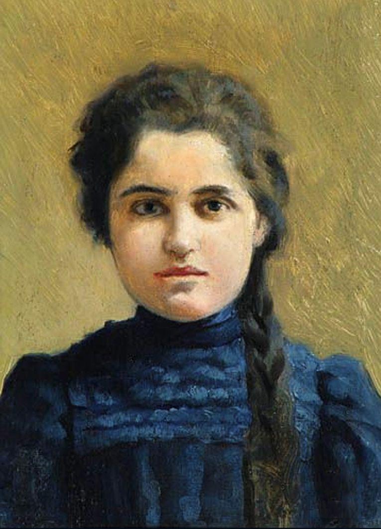 Ян Казімеж Ольпінський. Портрет дівчини, 1901; фанера, олія
